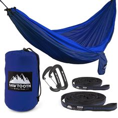 Sawtooth Double Hammock with FREE Tree Straps and Wire Gate Carbiners - Parachute Nylon with Utility Loops and Storage pocket - Portable and Lightweight Camping Hammock (Orange) * Unbelievable product right here! Indoor Hammock Bed, Hammock Tent, Camping Hammock, Hammocks, Outdoor Camping, Camping And Hiking, Camping Gear, Backpacking, Used Campers