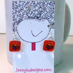Glass Tile Earrings Teapot Tea Jewelry Tea Art by JennyLU on Etsy, $16.00