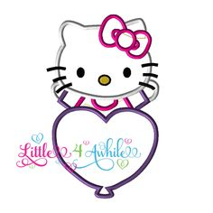 Hi Kitty Heart Applique Embroidery Design Instant download 3 sizes by Little4Awhile on Etsy