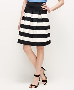 Ribbon Stripe Full Skirt | Ann Taylor