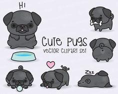 Premium Vector Clipart - Kawaii Pugs - Cute Black Pugs Clipart Set - High Quality Vectors - Instant Download - Kawaii Clipart
