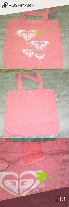 Pink ROXY Tote ROXY Pink Tote, Roxy Heart Graphics on One Side, Velcro Closer, (besides tiny ink dot)Great Condition. Roxy Bags Totes
