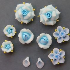 Set-Blue-Polymer Clay DIY Flowers   http://www.etsy.com/listing/93643398/5pc-set-blue-polymer-clay-diy-flowers