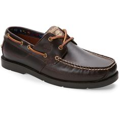 Timberland Brown Earthkeepers Kiawah Bay Moc Toe Boat Shoes ($60) ❤ liked on Polyvore featuring men's fashion, men's shoes, brown, mens leather boat shoes, mens leather deck shoes, mens deck shoes, mens brown shoes and mens boat shoes