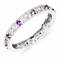 Sterling Silver Stackable Expressions Amethyst Ring – Sparkle & Jade