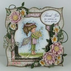 Dies:  Go Kreate XXL Square Frames Frilly#7; Spellbinders Label Five, Petite Ovals; Classic Ovals and Post Patch for big flowers.  Cherry Lynn Designs B152 miniature rose; B117 Fanciful Flourish and B147 Olive Branches.