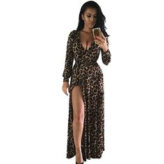 Leopard Print Maxi Dress with Side Split //Price: $39.24 & FREE Shipping //     #trends