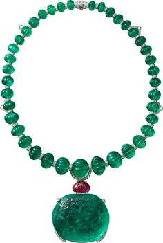 """""""Rajasthan"""" Necklace - platinum, one carved antique cushion-shaped emerald from Colombia, thirty-nine melon cut emerald beads from Afghanistan, one carved ruby, brilliant-cut diamonds. Royal Jewelry, High Jewelry, Indian Jewelry, Jewelry Necklaces, Cartier Jewelry, Antique Jewelry, Vintage Jewelry, Emerald Necklace, Emerald Jewelry"""