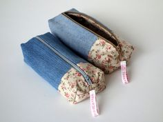 Denim 'n Rose Pink floral Make-up Bag, Toiletry Bag, Pencil Case, Zipped Pouch, Reclaimed fabric, Handmade