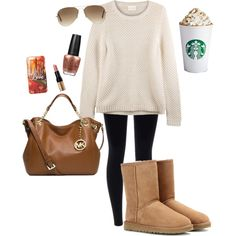 Basic White Girl Starter Kit by mom22angels on Polyvore featuring polyvore fashion style EAST UGG Australia Michael Kors Ray-Ban Bobbi Brown Cosmetics OPI