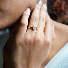 14K Gold Window Bezel Engagement Ring