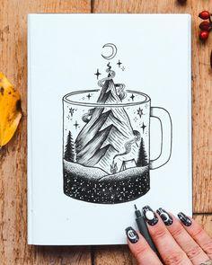 Arte criada pela artista Jill Ilsay (jill_islay) da Escócia.    Xícara de café com montanha em blackwork.    #desenho #drawing #art #arte Cute Drawings, Tattoo Drawings, Drawing Sketches, Tattoos, Blackwork, Aquarell Tattoo, Geometric Nature, Pen Art, Doodle Art
