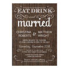 "Rustic Wood Country Wedding Invitations 4.5"" X 6.25"" Invitation Card"