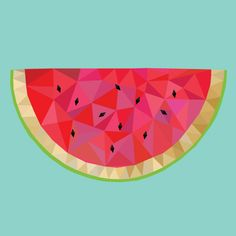 Color from nature / Watermelon More details Watermelon Cartoon, Watermelon Art, Watermelon Illustration, Watermelon Painting, Polygon Art, Fruit Art, Arte Floral, Geometric Art, Cute Drawings