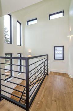 modern staircase in hallway modern metal horizontal stair railing Stair Railing . # modern staircase in hallway modern metal horizontal stair railing Stair Railing . Home, House Design, New Homes, Stair Railing Design, Modern Railing, Modern Staircase, House Interior