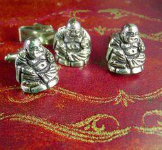 Chinese Buddha Cufflinks Vintage  tie clip by NeatstuffAntiques
