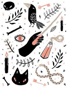 -Pattern design and illustration by Rachel Katstaller. Arte Sketchbook, Halloween Illustration, Dibujos Cute, Witch Art, Witch Aesthetic, Halloween Art, Halloween Stickers, Pattern Illustration, Graphic
