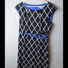 Black and White Diamond Print Dress Electric Blue lining inside...Comes with Electric Blue Belt...Only Worn Once...Included with purchase FREE Electric Blue Stone Earrings Dress Barn Dresses Midi