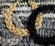 Collana intrecciata oro argento e nero by Black Fashion