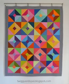 Twiggy and Opal: Half Square Triangle :: Lap Quilt Strip Quilts, Scrappy Quilts, Baby Quilts, Quilt Blocks, Modern Quilt Patterns, Modern Quilting, Quilting Patterns, Half Square Triangles, Half Square Triangle Quilts Pattern