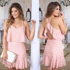 {Poá 💗by @fatobasico } Vestido elegante, super feminino e leve pro verão!