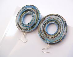 recycled magazine page earrings.