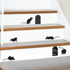 Hurry and scurry, the mice are on the move. These cute little mice silhouettes and doors can create a charming whimsical scene on your staircase, hallway, or any little corner that needs a bit of char