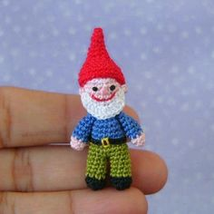 Miniature Garden Gnome amigurumi crochet pattern by Muffa Miniatures