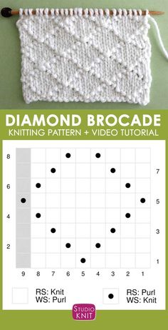 Knitting Chart of this Diamond Brocade Knit Stitch Pattern. Check out FREE Knitting Pattern, Chart, Photos, and Video Tutorial by Studio Knit. raute How to Knit the Diamond Brocade Knit Stitch Pattern Beginner Knitting Patterns, Knitting Stiches, Knitting Charts, Easy Knitting, Loom Knitting, Knitting Socks, Knitting Projects, Crochet Patterns, Knitting Stitch Patterns