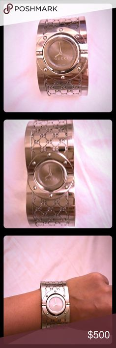 Gucci Twirl Monogram Watch Authentic Gucci monogram watch, dial can be flipped over so can be worn as a bracelet. Gucci Accessories Watches