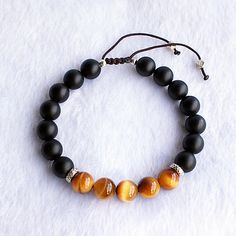 Men's Tiger Eye and Onyx Gemstone Beaded Bracelet with Sterling Silver Charms