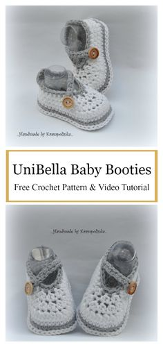 UniBella Baby Booties Free Crochet Pattern and Video Tutorial #freecrochetpatterns #boots