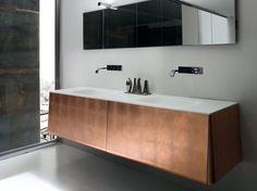 Mueble bajo lavabo doble en hoja de cobre CAMPUS 09 by Bluform diseño Imago Design