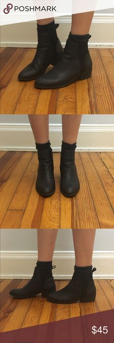"""Black Leather Ankle Booties Black ankle booties with slightly pointed toe, real leather, with spandex around black. A tab on one of the boots that helps you put them on came off and I sewed it back on, not noticeable. These have been worn and loved and the leather is a bit wrinkled, but it adds to the look! 1"""" heel. Very comfy.   ***   ***   ***   ***   *** • NO SWAPS • Please message me with any and all inquiries • MAKE ME AN OFFER! Please no lowballing.  • Discounts on bundles! •…"""