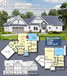 Architectural Designs Craftsman House Plan 25642GE gives you 4+ beds, 3+ baths and 3,200+ sq. ft. of heated living space. Ready when you are! Where do YOU want to build? #25642ge #adhouseplans #architecturaldesigns #houseplan #architecture #newhome #newconstruction #newhouse #homedesign #dreamhome #dreamhouse #homeplan #architecture #architect #housegoals #craftsmanhome #craftsmanhouseplan #craftsman #country #farmhouse