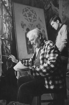 Marc Chagall working on a stained glass window. Paris, France,1960 Photographer: Loomis Dean