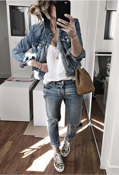 Denim Jacket + White V-Neck + Distress Jeans + Leopard Sneakers