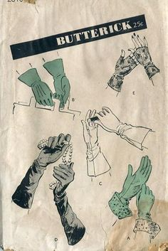 Sewing Patterns,Vintage,Out of Print,Retro,Vogue Simplicity McCall's,Over 7000 - Butterick 2810 Retro 1940's Evening Day Gloves *