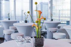 orange calla, flower, decoration, arrangement, blossoms Flower Decoration, Blossoms, Candles, Table Decorations, Orange, Flowers, Furniture, Home Decor, Candy