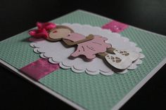 Handmade 3D Teddy Bear Card  Ballerina Aqua Birthday by Pixicutcom