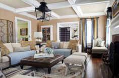 Coffered ceiling, lantern chandelier
