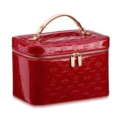Louis Vuitton Red Patent Signature Cosmetic Case.