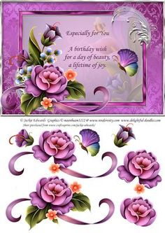 Enchanted Garden With Butterfly And Verse on Craftsuprint designed by Jackie Edwards - A5 card front with decoupage for that 3D effect. - Now available for download!