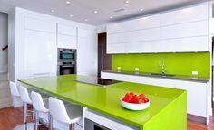 high gloss lacquer, green quartz countertops.