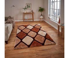 Covor pufos maro, 150x230 cm, Stil modern, Model geometric, Noble House - hoome.ro