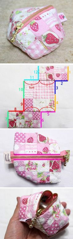 Make an easy patchwork pouch with our sewing Tutorial in Pictures. http://www.handmadiya.com/2015/11/patchwork-zipper-coin-purse.html
