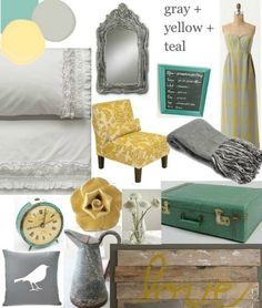 gray yellow teal color palette-- but light on the colors. maybe choose one to pop? and NO mustard yellow!!