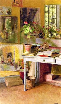 At Clayes, Geranium on a Blue Table in front of the Window / Edouard Vuillard - 1932
