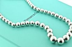 Tiffany & Co graduated beads in sterling silver necklace