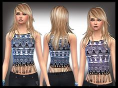 Boho Print trimmed top by shanelle.sims at TSR via Sims 4 Updates